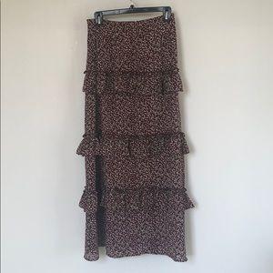 Anthropologie Blue Tassel Maxi skirt